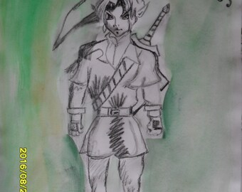 Link - Zelda - Legend of Zerlda - Drawing - Gamers - Triforce - Wall Art - Home Decor - Kids Decor