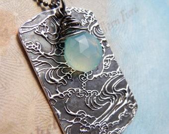 Beach Jewelry, Nautical Necklace, Beach ID Tag Necklace, Beach Necklace, Aqua Chalcedony Beach Jewelry, Sterling Silver Nautical Necklace