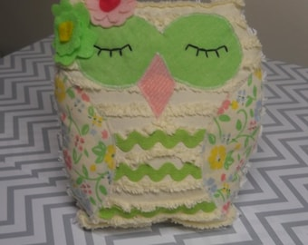 Upcycled Chenille Owl Pink Green Hoot Owl Pillow Nursery Decor Baby Shower Woodland Halloween