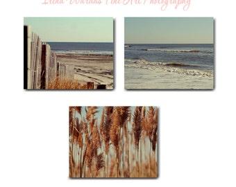 Rustic beach decor, photography canvas set of 3 coastal gallery wraps, beach art canvas, mint blue rust brown nautical groupings art ocean