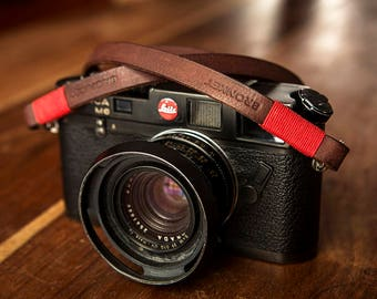 Bronkey - Tokyo #1 - Brown - Leather Camera Strap for mirrorless, Nikon, Leica, Fuji X serie, 35mm, Olympus, DSLR, vintage & more.
