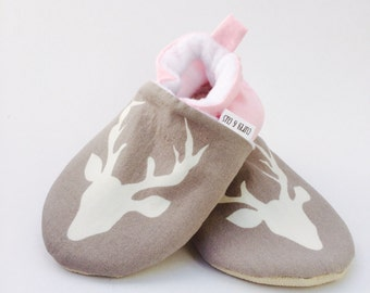 Gray Deer Handmade Baby Shoes, Pink Baby Shoes, Baby Girl Shoes, Soft Sole Baby Shoes, Baby Booties,  Baby Moccasins, Crib Shoes, Toddler