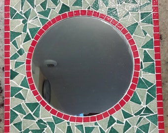 Green and Red ice basque mosaic mirror round