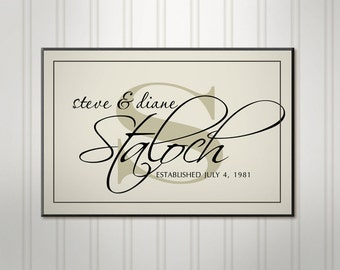 """Large Family Name Sign, Ivory or Black Script Wood Sign, Personalized Wedding Sign, Custom Last Name Sign, 18"""" x 24"""""""