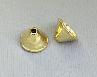 Gold Vermeil Finding Rimmed Bead Cap  B122vm