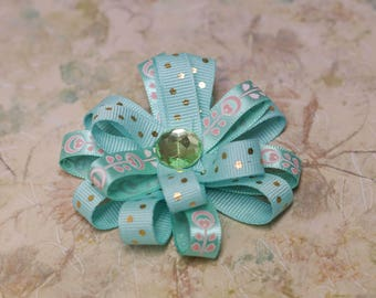 """Stacked Ribbon Bow - teal turquoise & silver - 3"""" pinwheel ribbon bow on alligator clip - glitter ribbon, pearl center - toddler, child, kid"""