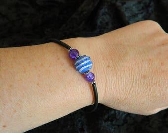 Blue striped bead buna of valou bracelet Kit