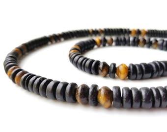 "Mens necklace and bracelet set - ""Cat's Eye"""