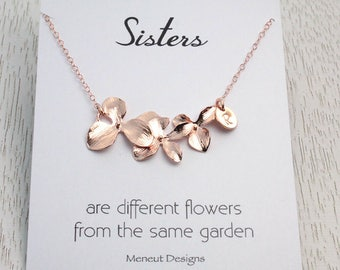 Sisters Necklace in Choice of 3 Colors, Flower Initial Disc Necklace, Bridal Jewelry Gift, Gold Monogram Disc Charm, Bridesmaid Gift