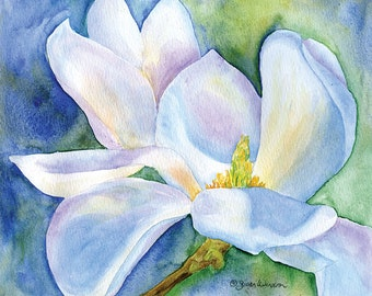 Magnolia Watercolor Print - 14 x 11 - Giclee Reproduction - Floral Painting -  Blue and White Flower