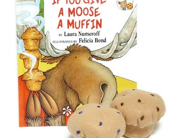 Felt Muffin Gift Set with bonus If You Give A Moose A Muffin book - gift packaging included!! eco-friendly felt play foods!