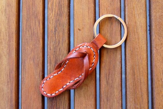 Handmade Sandal Leather Keychain Keyring Keyfob