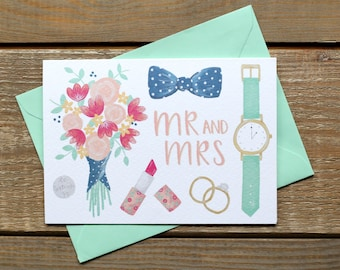 Mr and Mrs Hand Illustrated Wedding Card