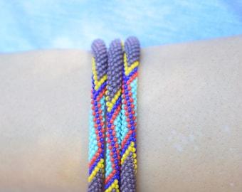 African Microbread Tribal Bracelet - Purple/Blue