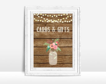 Cards and Gifts Sign Printable, Wedding Table Sign, Rustic Mason Jar Wedding Sign, Gift Table Sign, Printable Cards and Gifts Sign, 5x7