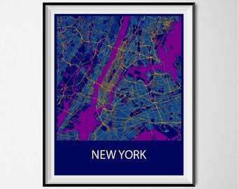New York Map Poster Print - Night