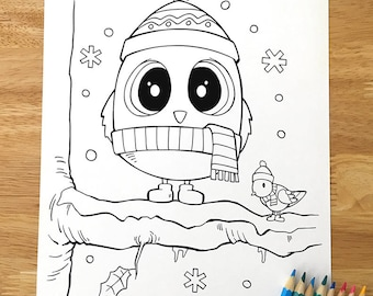 Christmas Owl Coloring Page! Downloadable PDF file!