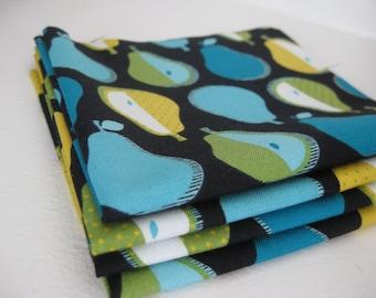 Cloth Napkins - Pop Pears - Blue - 100% Cotton