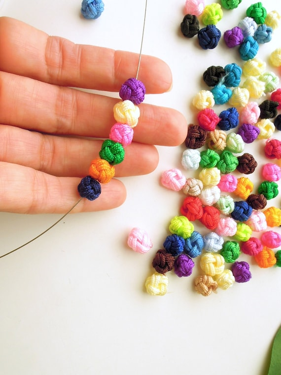 20 pcs Small knot jewellery fabric beads 0.6 - 08 cm  Small rope multicoloured beads  Braided rope small round beads 20 pcs RANDOM COLOURS