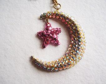 Disko Chick Gold Halskette Mond Halskette Stern Kette Goldkette Halskette gehen gehen Tänzer Halskette umfunktioniert Kunst Schmuck rosa Stern