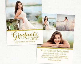 Senior Graduation Announcement Template for Photographers 016 - ID230, Instant Download
