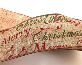 Merry Christmas Wire Edged Burlap Ribbon - per metre length