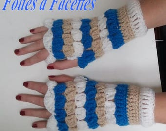 colorful turquoise, beige and white fingerless mittens crocheted