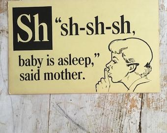 Vintage school flashcard/baby sleeping sign/school flashcard/large flashcard/baby flashcard