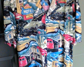 Paradise Found XL Vintage Aloha Hawaiian Shirt  Route 66 Corvette Car Themed