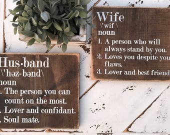 Husband gift / wife gift / anniversary gift / wedding gift / bedroom decor / gallery wall / wife definition / husband definition