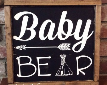 Baby bear sign. Woodland theme nursery decor. Arrow. Teepee. Bear. Nursery decor. Baby shower gift