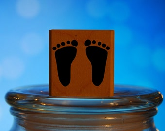 Baby Footprints Rubber Stamp Mounted Wood Block Art Stamp