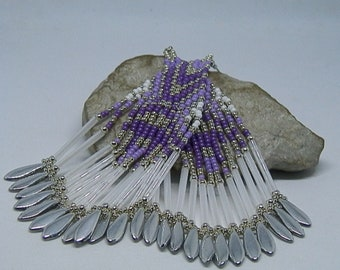 Purple, purple, white and silver beadwoven earrings