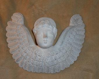 Shabby Angel Puffy Ceramic Pottery Three Dimensional 13 x 11 Wall Plaque
