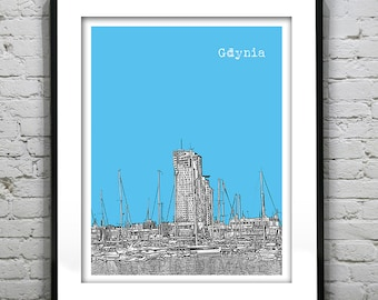 20% OFF Memorial Day Sale - Gdynia Poland Skyline Poster Art Print  Boats Port