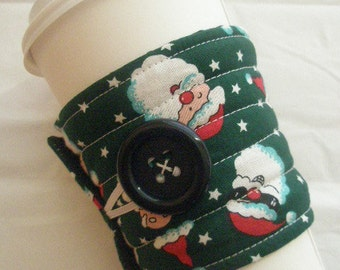 santa clause quilted coffee cozy