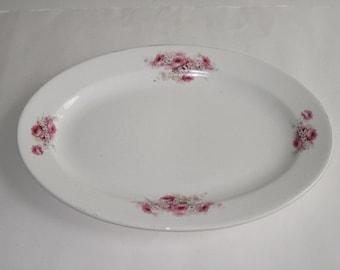Vintage Pink Floral China Serving Platter by Glenwood