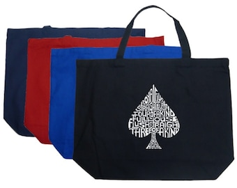 Large Tote Bag - Created Using Order of Winning Poker Hands