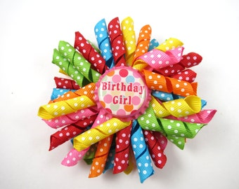 Birthday Polka Dot Hair Bow - Birthday Polka Dot Korker Hair Bow  - Rainbow Hair Bow - Polka Dot Hair Clip - Birthday Hair Clip - Polka Dot