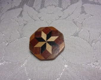 Vintage wood brooch, vintage brooch