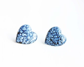 Denim Heart Studs, Heart Studs, Denim Studs, Blue Heart Studs, Blue Studs
