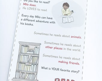 Milo Loves Reading - Kids Mail - Kids Postcard - Snail Mail for Kids - Kids Gift - Learning To Read - Kids Story - Bedtime Story