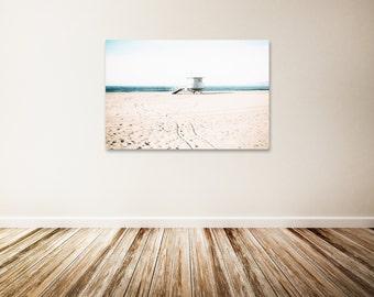"Santa Monica Canvas Art, Santa Monica Beach, Lifeguard Tower, Ocean Photography, Beach Canvas Wall Art, Los Angeles Wall Art - ""Sliver"""