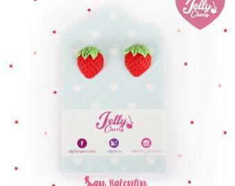Strawberry red earrings / stud earrings /kawaii jewlry By Jelly Cherry