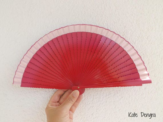 Two Tone Dark Pink With Wavy Cut Rib Detail Design Spanish Hand Fan Limited Edition