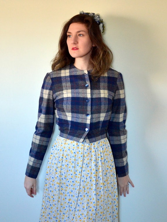 Smart + Sweet Jacket | vintage 60's blue wool plaid cropped jacket | small