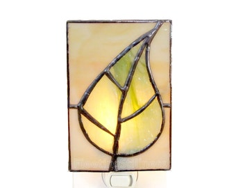 Tree Stained Glass Night Light Green Beige Nightlight Handmade OOAK