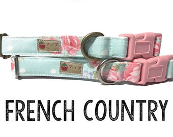 """Vintage Dog Collar - Floral Dog Collar - Girl Dog Collar - Shabby Chic Dog Collar - Antique Metal Hardware - """"French Country"""""""