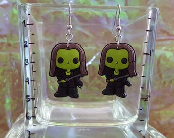 Dangling earrings with a babysitter super heroine!