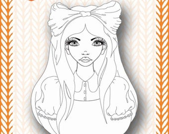 Mixed Media Templates ~ Alice Portrait - Paperbabe Stamps - For mixed media, paper crafting and scrapbooking.